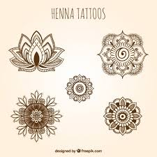 ornamental henna tattoos set vector free download