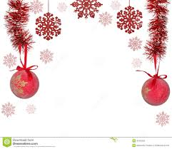 half frame from red christmas tree decorations on white stock