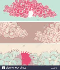 set of banners with sun and clouds in japanese style in blue and