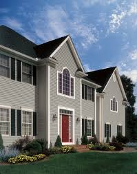 kind of like the gray house red door black shutters outdoor