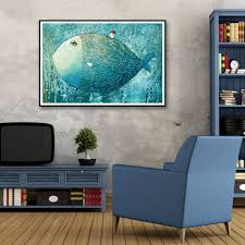cartoon big fish house animal abstract art canvas poster modern