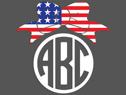 bow monogram american flag bow monogram decal from cypressbelledecals on