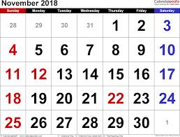 november 2018 calendars for word excel pdf