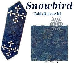 snowbird table runner quilt kit moda snowflake fabric by laundry