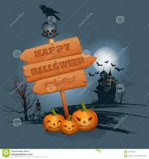 blue halloween background happy halloween background with wood sign in moonlight stock