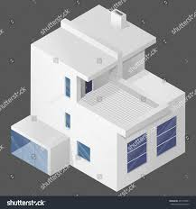 contemporary modern white house 3d isometric stock vector