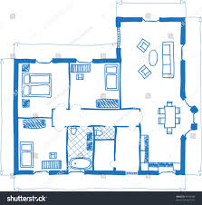 illustration floor plan house doodle style stock vector 99703988