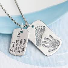 baby dog tags dog tag with baby prints and birth info necklace