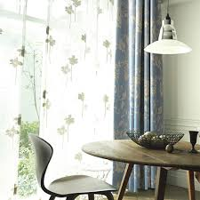 cheap blue floral blackout shabby chic curtains