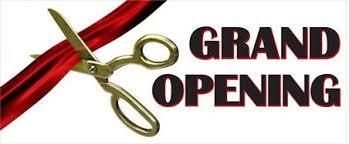grand opening ribbon banner golden openings