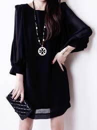 black shift dress black chiffon shift dress with puff sleeves abaday