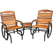 2 seat wood glider with table outdoor bench patio garden furniture