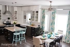 a black white and turquoise diy kitchen design with ikea cabinets