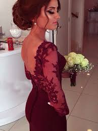a line sweetheart long sleeve burgundy prom dress with lace appliques