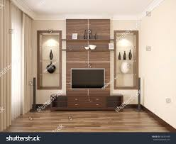 Room With Tv 3d Illustration Comfortable Contemporary Living Room Stock