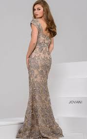 fitted dresses jovani dresses womens grey beaded lace floral fitted dress