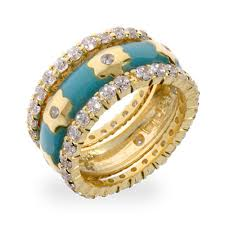 designer rings images inspired turquoise and gold flower stackable ring set s