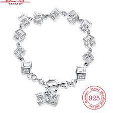 chain link bracelet charms images 2018 new brand designer tetragonal charm bracelets 925 sterling jpg