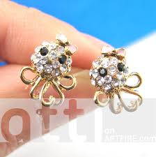 small stud earrings small octopus squid bow tie stud earrings in gold with rhinestone