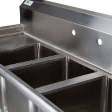 Compartment Sink With  Drainboards Regency  Gauge Three - Three compartment kitchen sink
