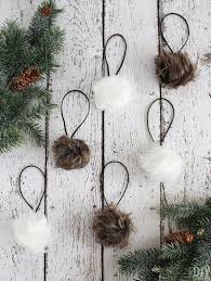 fur christmas faux fur pom pom christmas ornaments rustic christmas