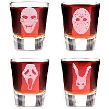 deathly scary halloween background pics amazon com set of 4 minimalist scary movie mask shot glasses
