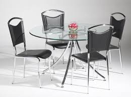 Clear Dining Chairs Clear Glass Top W Lazy Susan U0026 Metal Legs Modern 5pc Dining Set