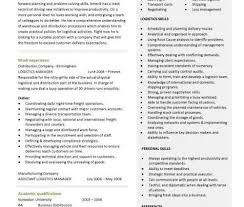 Resume For Logistics Executive Logistics Manager Resume Career Summary Work Experience Writing