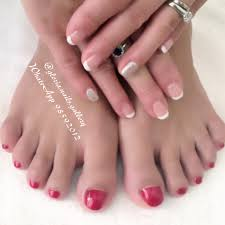 beautiful french manicure u0026 red pedicure for everyday and wedding