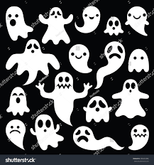 8bit halloween background scary white ghosts design on black stock vector 409433386