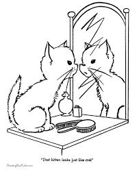 free printable cute kitten coloring kindergarten learning