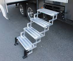 glowstep revolution scissor steps connect rv to ground level for