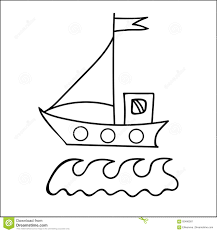 black line ship with flag for coloring book and other child stock