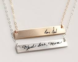 engraving necklaces handwriting necklace etsy