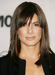 sandra bullock medium straight cut with bangs shoulder length