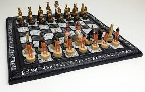 amazon com 16 egyptian chess set with black u0026 white hieroglyphics