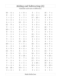 100 horizontal addition subtraction questions facts 1 to 10 a
