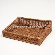 wholesale willow wicker display tray basket angled wicker basket