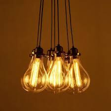 Cluster Pendant Light Industrial Cluster Hanging Pendant Light Exposed Bulb Style Lights