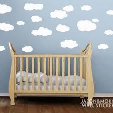 stickers chambre bébé mixte 19 pcs blanc nuage vinyle stickers muraux nursery enfants wallpaper