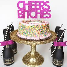 aliexpress com buy cheers bitches glitter cake toppers