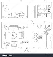 Architectural Symbols Floor Plan Architectural Set Furniture Objects Building Plan Stock Vector