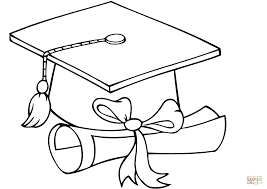 graduate cap with diploma coloring page free printable coloring