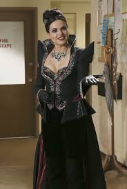 regina the evil queen her blue dress in detail once upon