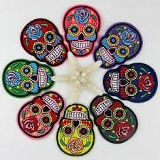 sugar skull flower iron on applique embroidered patch diy sewing
