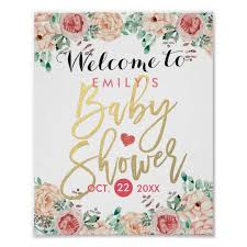 baby shower sign watercolor floral baby shower welcome sign zazzle