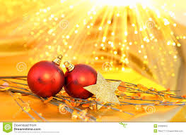 christmas red baubles on the yellow background stock image image