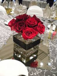 black red and white wedding centerpieces paper red roses with