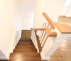 white oak staircase stained with bona