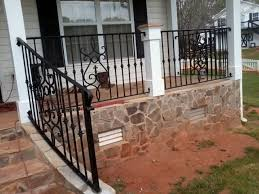 exterior wrought iron handrail railing mediterranean porch